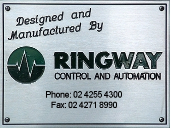 DESIGNED AND MANUFATURED RINGWAY CONTROL AND AUTOMATION Ph: (02)42716669 Fax: (02)42718990